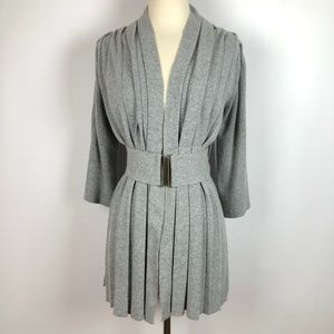 Anthropologie Sweaters - Anthropologie MOTH Gray Belted Pleated Cardigan